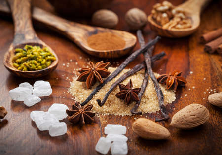 Aromatic baking ingredients for Christmas cookies Stock Photo