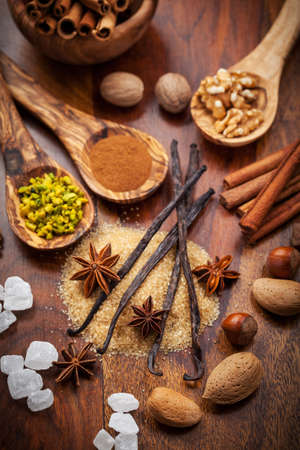Aromatic food ingredients for baking Christmas cookies photo