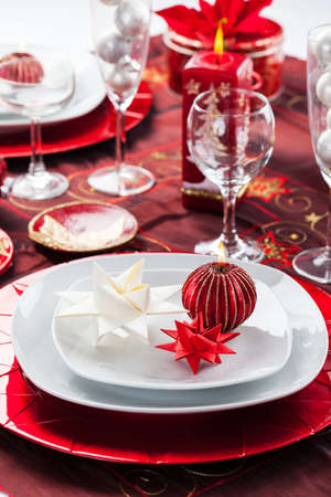 Place setting Christmas decorated with paper star Stock Photo - 16833823