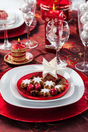 Place setting Christmas decorated with paper star Stock Photo - 16833838