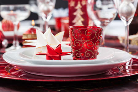 Place setting Christmas decorated with paper star Stock Photo - 16833839