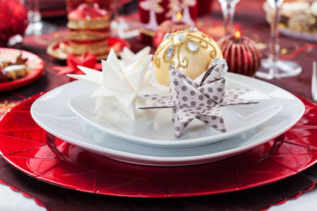 Place setting Christmas decorated with paper star Stock Photo - 16833835