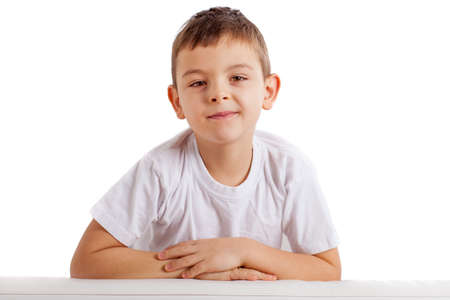 Portrait of school boy isolated on white