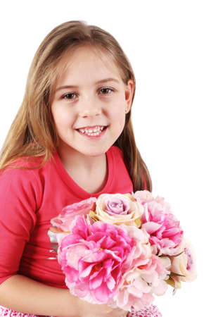 Beautiful little girl with bouquet for Mom or Father photo