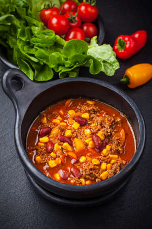 red chili: Hot cilli con carne cooked in the pan