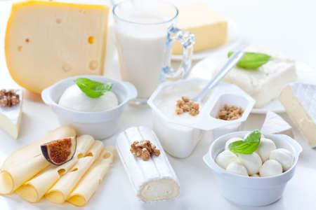 Assortment of different dairy products on white background Stock Photo - 20095788