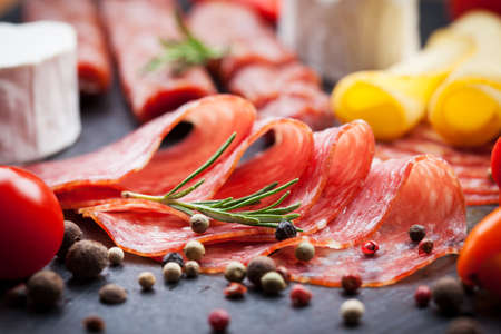 salad buffet: Platter of antipasti and appetizers