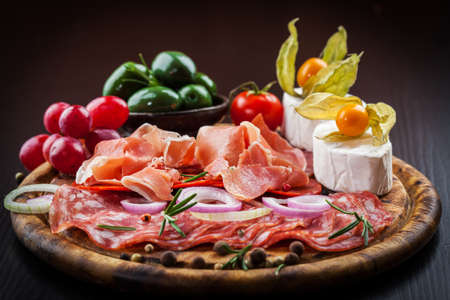 Antipasto and catering platter with different appetizers Stok Fotoğraf