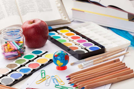 Back to school - school supplies Stock Photo