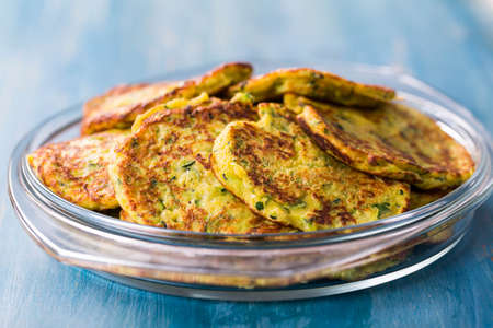 Low crab zucchini pancake in bowl