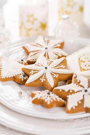 Traditional Gingerbread cookies for Christmas Stock Photo