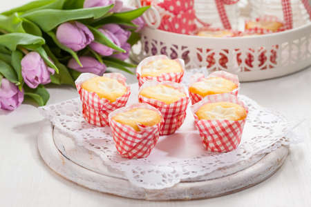 Small curd cheese muffins or cupcakes Banque d'images
