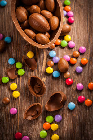 Sweet chocolate eggs for Easter  Stock Photo