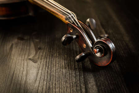 Close view of old violin and strings in vintage style on wood background