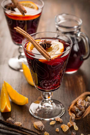Hot cranberry mulled wine with oranges, anise and cinnamon