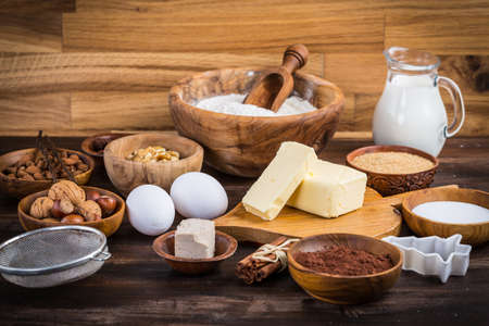 Assortment of baking ingredients for Xmas cookies and biscuits Stock Photo