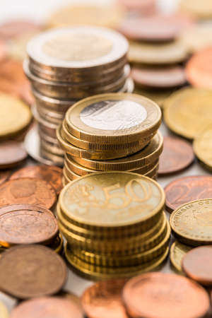 Piles of  Euro coins . Money.
