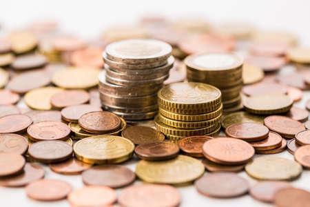 Piles of Euro coins . Money. Stock Photo
