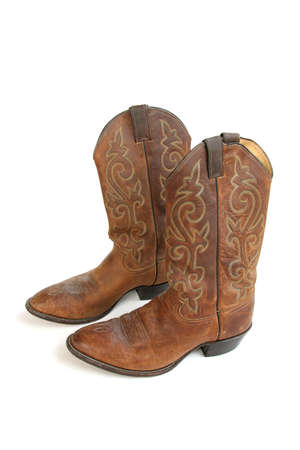 Cowboy Boots Isolated on White Stock Photo