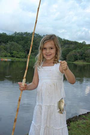 Girl Fishing Stock Photo