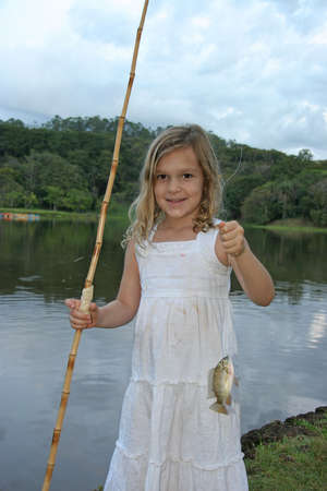 Girl Fishing Stock Photo