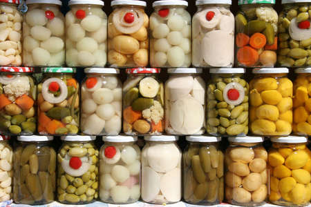 Jars of traditional Brazilian vegetables from the state of Goias. Stock Photo