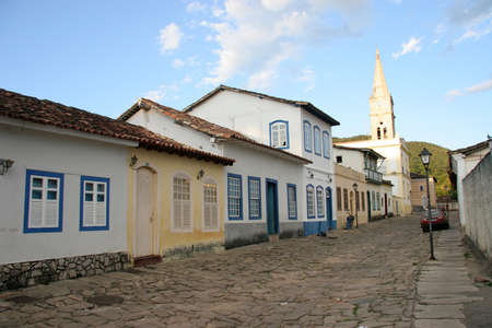 A cobblestone street in the Unesco world heritage site of Goias Velho.