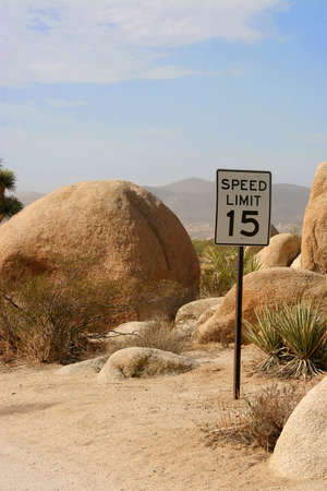 The posted speed limit in a campsite in Joshua Tree National Monument.