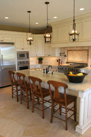 custom home: A newly remodeled modern, luxury kitchen - vertical.