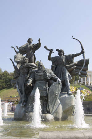 Kyi, Schek and Khoryv (brothers who are said to have founded the city of Kyiv) statue in Independence Square, Kyiv, Ukraine
