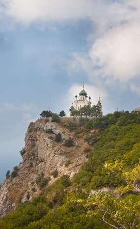 Foros Ukrainian Orthodox Church which sits atop a hill in Crimea, Ukraine