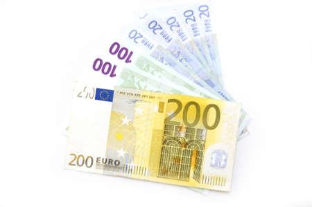 Arrangement of Euro banknotes Stock Photo