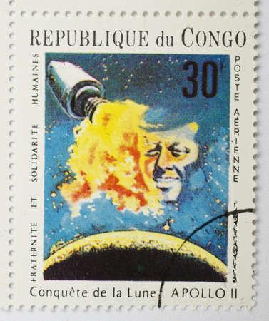 REPUBLIC OF CONGO - CIRCA 1969  a stamp from the Republic of Congo shows image of the Apollo 11 spacecraft, circa 1969  Editorial