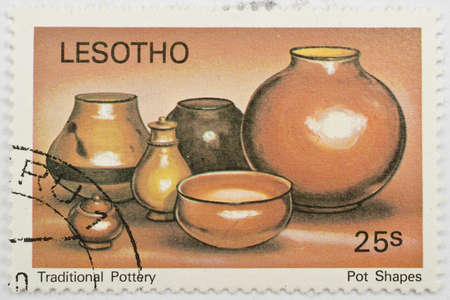 LESOTHO - CIRCA 1980  a stamp from Lesotho shows image of pot shapes, from the traditional pottery series, circa 1980