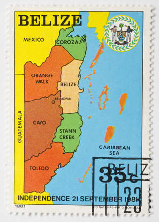 BELIZE - CIRCA 1981  a stamp from Belize shows a map with the regions of Belize, circa 1981  Stock Photo