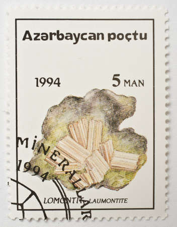 AZERBAIJAN - CIRCA 1994  a stamp from Azerbaijan shows image of the mineral laumontite, circa 1994