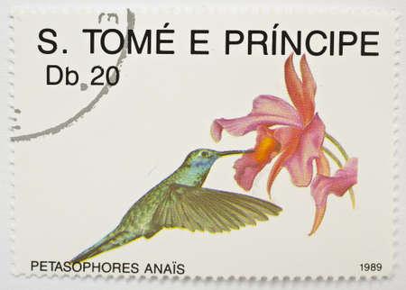 SAO TOME AND PRINCIPE - CIRCA 1989  A stamp from Sao Tome and Principe shows image of hummingbird  Petasophores anais  at a flower, circa 1989