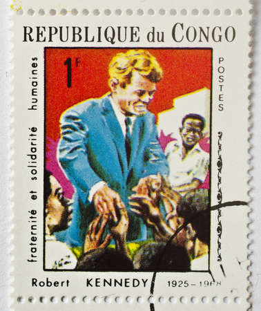 Stamp from the Republic of Congo shows image of Robert Kennedy, the Democratic senator from New York, circa 1968  Stock Photo - 17465840