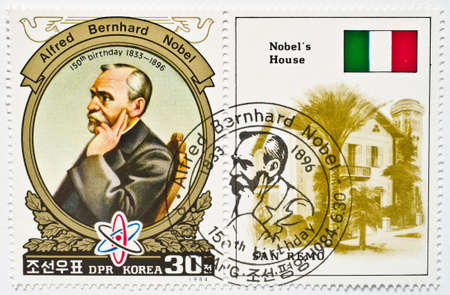 Stamp from North Korea shows image of Alfred Bernhard Nobel and commemorates his 150th birthday, circa 1984  Editorial