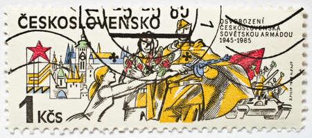 Vintage Czech Postage Stamp Editorial