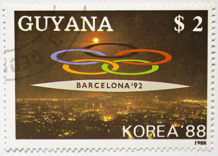 GUYANA - CIRCA 1988  a stamp from Guyana shows image commemorating the Barcelona  92 Olympic Games, circa 1988  Editorial