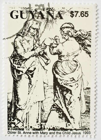 GUYANA - CIRCA 1993  a stamp from Guyana show image of St Anne with Mary and Jesus, circa 1993