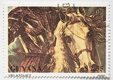 GUYANA - CIRCA 1990  a stamp from Guyana shows a Velazquez painting of a horseman in armour, circa 1990