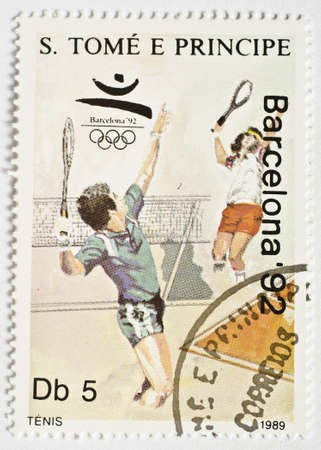 SAO TOME AND PRINCIPE - CIRCA 1989  a stamp from Sao Tome and Principe shows image of tennis players and commemorates the Barcelona  92 Olympics, circa 1989  Editorial