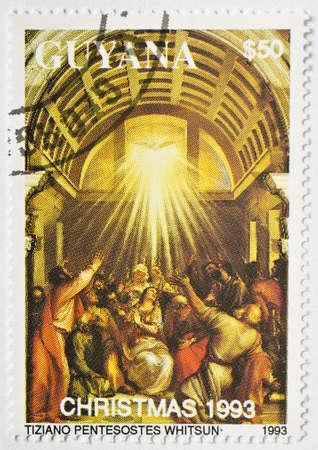 GUYANA - CIRCA 1993  a  50 stamp from Guyana commemorates Christmas 1993, circa 1993