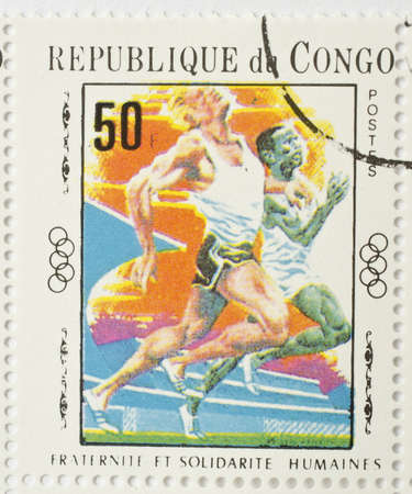 REPUBLIC OF CONGO - CIRCA 1970  a stamp from the Republic of Congo shows image of sprinters, circa 1970  Stock Photo - 17554832