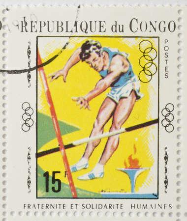REPUBLIC OF CONGO - CIRCA 1970  a stamp from the Republic of Congo shows image of a pole vaulter, circa 1970  Editorial