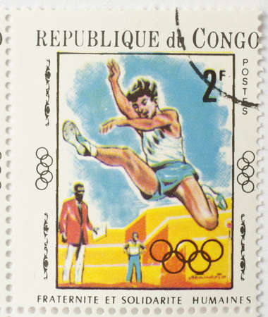 REPUBLIC OF CONGO - CIRCA 1970  a stamp from the Republic of Congo shows image of a long jumper, circa 1970  Editorial