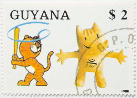 GUYANA - CIRCA 1988  a stamp from Guyana shows image of a mascot of the Barcelona  92 Olympic Games, circa 1988  Stock Photo - 17554817