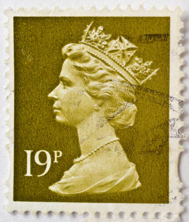 UNITED KINGDOM - CIRCA 2000  a stamp from the UK shows image of Queen Elizabeth II and value 19p, circa 2000  Editorial